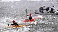 Kar ve fırtınaya rağmen rafting keyfi
