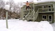 ABD'li gençlerin tehlikeli kar eğlencesi