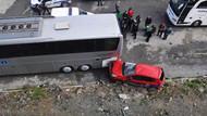 Kadın sürücü otomobiliyle 10 metreden düştü