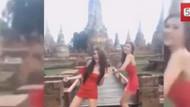 Tapınakta dans eden kızlara kolbastı montajı