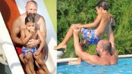 Halit Ergenç'in oğluyla kaydırak keyfi