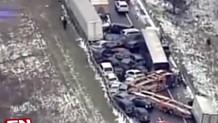 ABD'de 40 araç birbirine girdi - Video