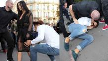 Kim Kardashian'ı poposundan öpmeye çalıştı dayağı yedi