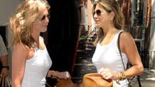 Jennifer Aniston sütyensiz sokağa çıktı