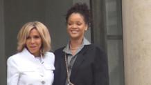 Ünlü şarkıcı Rihanna Elysee Sarayı'nda