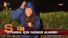 Dolu yağışı altında ATV muhabiri Tuba Södekoğlu'nun zor anları