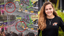 Formula 3'te dehşet anı! Sophia Floersch böyle duvara çarptı