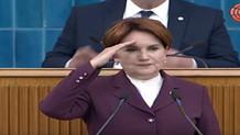 Meral Akşener partisinin grup toplantısında asker selamı verdi