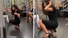 Metroda seksi pozlar veren kadın fenomen oldu