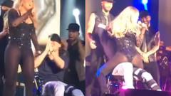 Mariah Carey ve dansçısı sahnede kucak dansı yapınca..