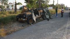Askeri araç devrildi, 7 yaralı