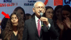 Kılıçdaroğlu'nun arkasındaki genç kızın yüz ifadesi sosyal medyayı salladı