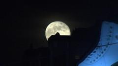 19 Mayıs gecesi dolunay ve Türk bayrağının muhteşem görüntüsü