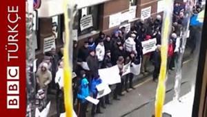 Rusya'daki protesto sırasında içeriden çekilen görüntüler