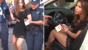 Alkollü genç kız kameraları unutup polise rüşvet vermek isteyince...