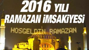 Sahur vakitleri İmsakiye 2016 Diyanet iftar saatleri