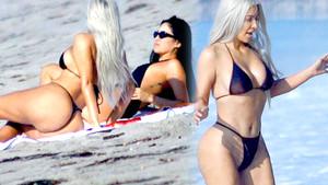 Kim Kardashian'dan tanga şov! Kalçalarını sergiledi