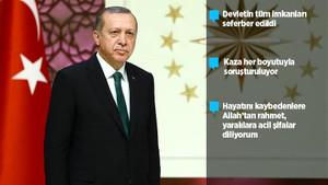 Son dakika: Erdoğan'dan flaş açıklama: Kaza her boyutuyla soruşturulmaktadır