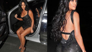 Kim Kardashian, transparan elbisesi ile görenleri mest etti