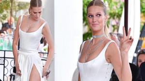 Toni Garrn Cannes'da boy gösterdi! Derin yırtmacı başına dert oldu