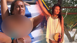 Üstsüz yakalanan Eda Taşpınar cesur plaj pozuyla ortalığı yıktı!