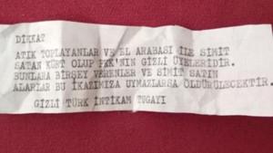 İzmir'de evlere Türk İntikam Tugayı imzalı tehdit mesajları bırakıldı