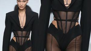 Bella Hadid'in seksi podyum kıyafeti Paris Moda Haftası'na damga vurdu