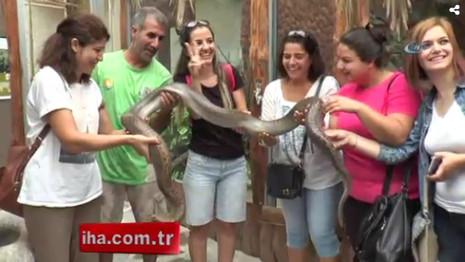 Kadın öğretmenlerin piton yılanıyla imtihanı