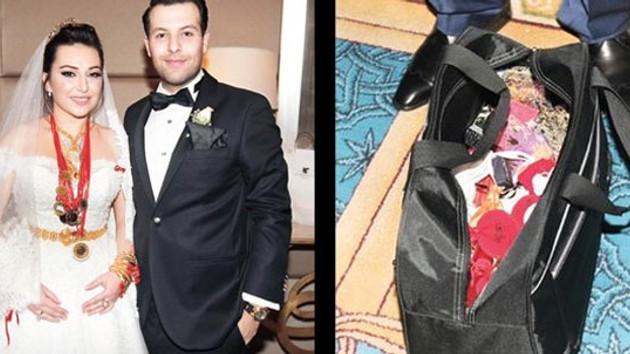 Eski vekilin oğlunun düğününde 15 kilo takı valize zor sığdı
