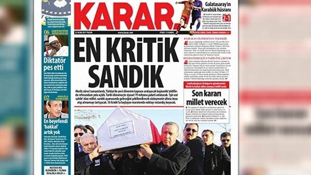 Karar gazetesinden o manşet için flaş özür!