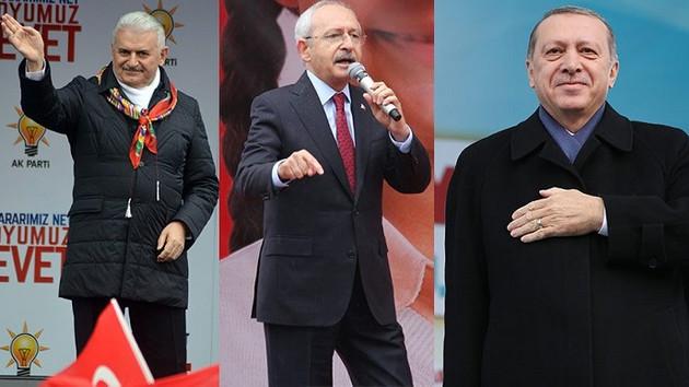 Başbakan'ın siyah montu, Erdoğan'ın mor kaşkolu.. Liderlerin miting modası