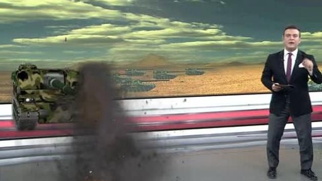 Canlı yayında stüdyoya F-16 ve Fırtına Obüsü girdi