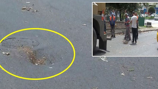 Beşiktaş'ta yolda meydana gelen çukur polisi alarma geçirdi