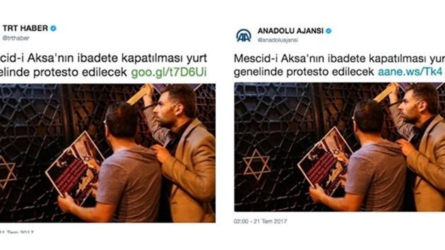 Anadolu Ajansı ve TRT'den tepki çeken Mescid-i Aksa paylaşımı