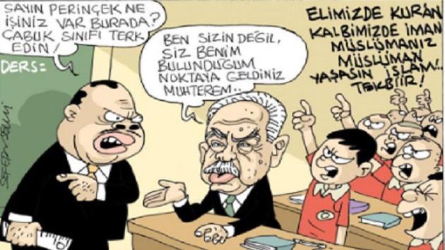 Evrensel, Perinçek ve Erdoğan'ı böyle çizdi
