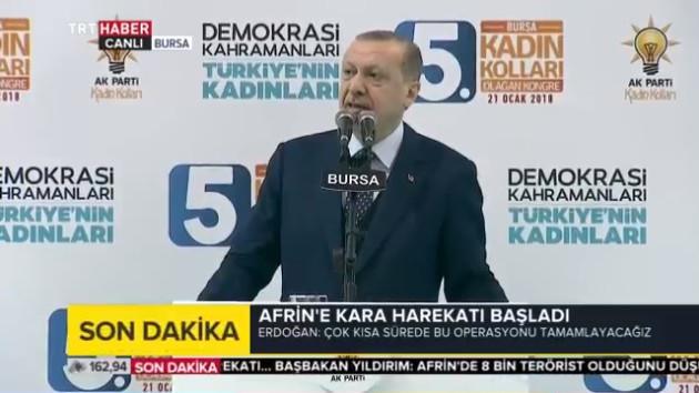 Son dakika: Erdoğan: Afrin'e bakıp YPG'nin nasıl kaçtığını görüyorum