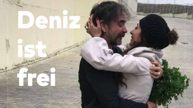 Deniz Yücel cezaevinden böyle çıktı: Eşiyle kavuşma anı