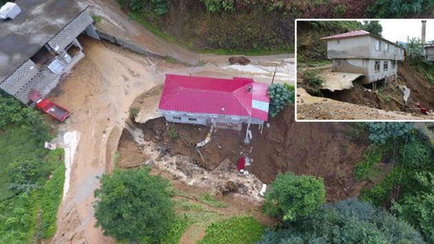 Rize'de 1 ev çöktü, 22 ev boşaltıldı