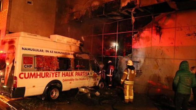 CHP seçim minibüsünde esrarengiz yangın