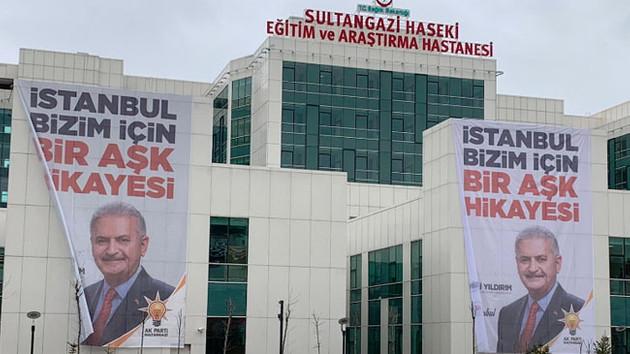 Devlet Hastanesine dev Binali Yıldırım afişi asıldı