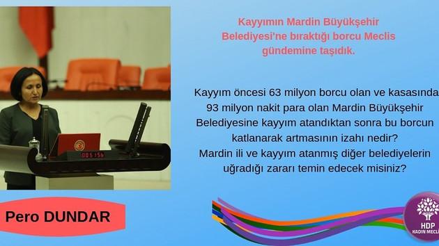 Kayyumun Mardin'deki 406 milyonluk borcu Meclise taşındı