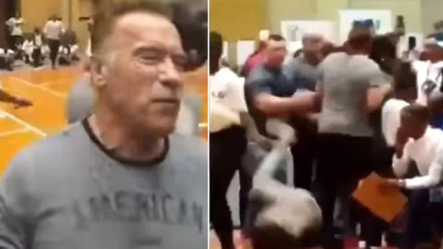 Arnold Schwarzenegger'e tekmeli saldırı!