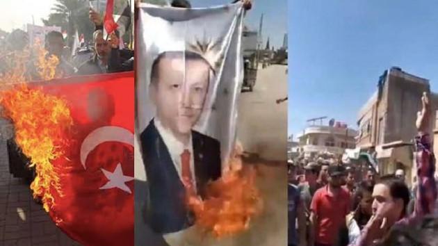 Suriyeliler Erdoğan posteri ve Türk bayrağı yaktı, Hain Türkiye sloganı attı