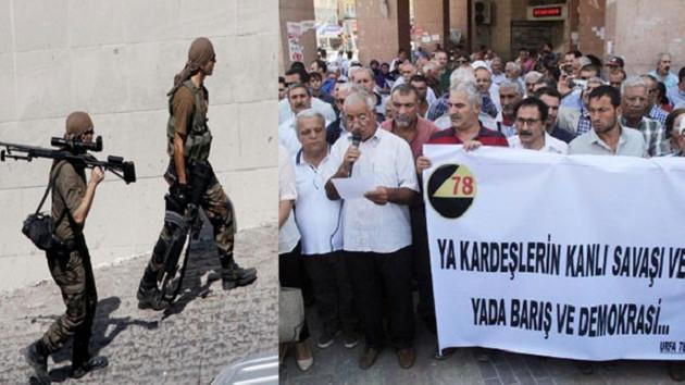 Silahların gölgesinde 'savaşa hayır' açıklaması