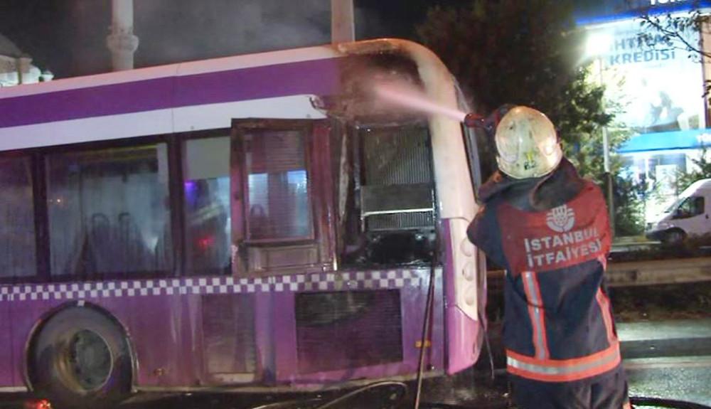 Son dakika: TEM otoyolunda korkutan otobüs yangını