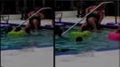 Bakışlara aldırmadı, havuzda bacaklarını traş etti!