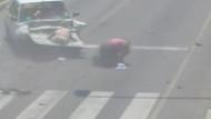 Genç kadın otomobilin ön camından böyle fırladı!