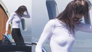 Kendall Jenner beyaz bluzu sütyensiz giyince...