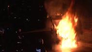 İSKİ aracı molotoflu saldırıda alev alev yandı