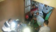 Polis memuru merdiven boşluğuna düştü!